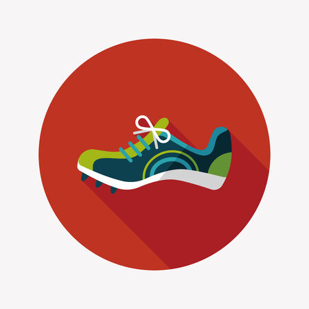 shoelaces: sneaker flat icon with long shadow