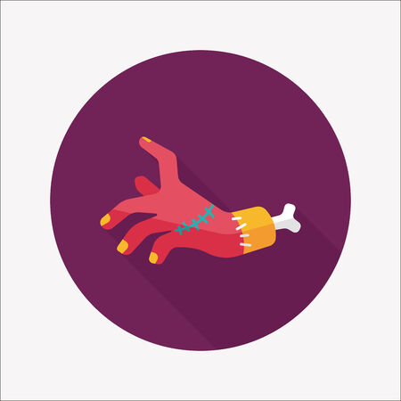 dangle: Icona piatto di Halloween zombie mano con una lunga ombra