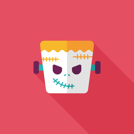 Frankenstein flat icon with long shadow Vector