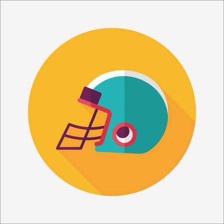 american football helmet set: american football helmet flat icon with long shadow