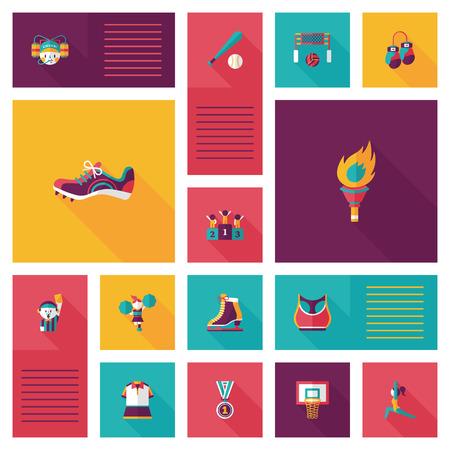 biking glove: sport flat ui background set Illustration