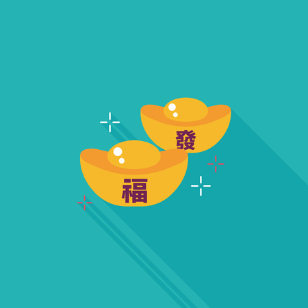 Chinese New Year flat icon with long shadow, Gold ingot with Chinese words means  wish good luck. Ilustracja