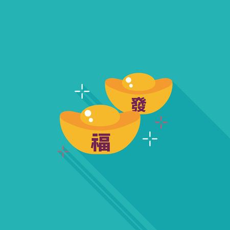 """Cinese icona piatta Capodanno con una lunga ombra, oro lingotto con parole cinesi significa """"auguro buona fortuna."""""""