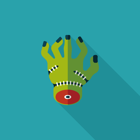Halloween zombie hand flat icon with long shadow Vector
