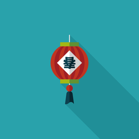 spring festival couplets: Chinese New Year flat icon with long shadow, Chinese festival couplets with lantern means  wish the arrival of spring. Illustration