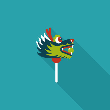 dancing dragon: Chinese New Year flat icon with long shadow, The dragon and lion dancing head