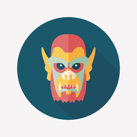 Halloween devil flat icon with long shadow