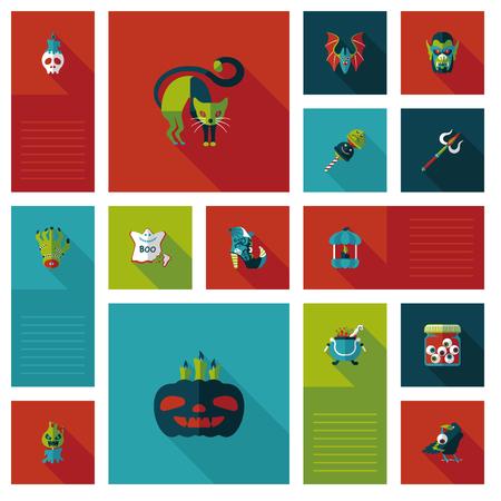Halloween flat ui background set Vector