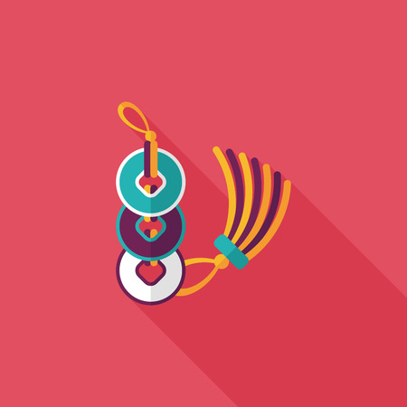blown: Chinese New Year flat icon with long shadow,eps10, Ancient coins lucky pendant means  wish good luck and fortune comes.