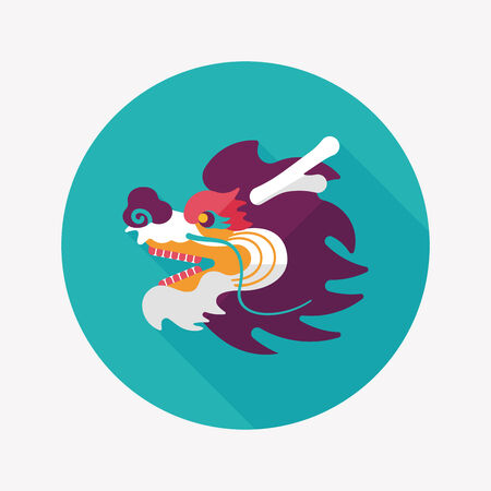 Chinese New Year flat icon with long shadow, The dragon and lion dancing head Vector