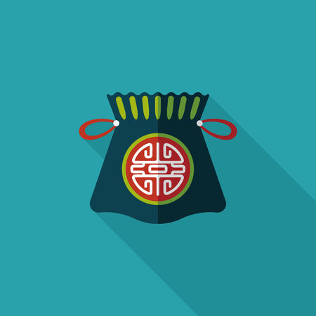 Chinese New Year flat icon with long shadow,  Chinese lucky gifts Vector