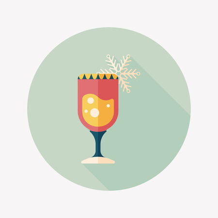 Christmas cocktail flat icon with long shadow,eps10 Vector