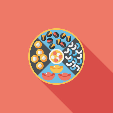 Chinese New Year flat icon with long shadow,eps10, Chinese desserts plate include nuts, candies and cookies. Vector