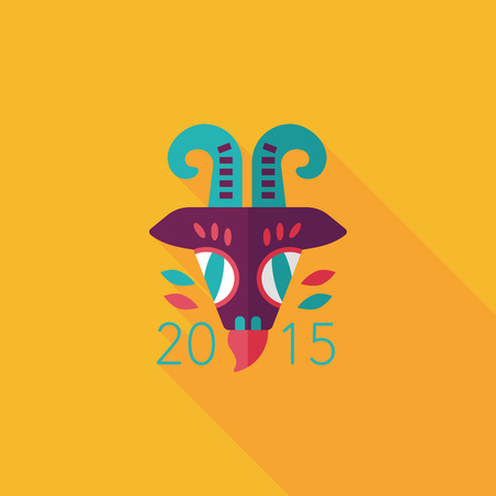 Chinese New Year flat icon with long shadow, Chinese Zodiac Year of the Goat, 2015