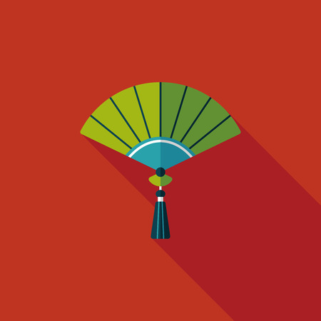 open fan: Chinese New Year flat icon with long shadow  Illustration