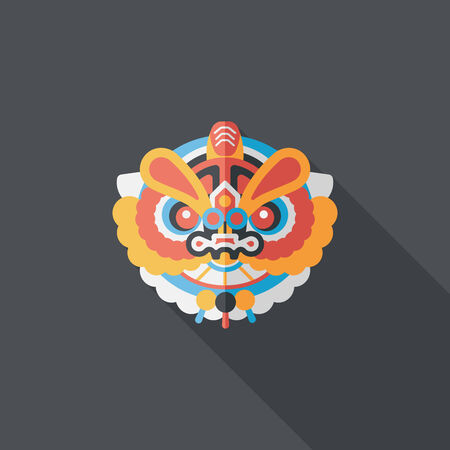 lion dance: Chinese New Year flat icon with long shadow  Illustration