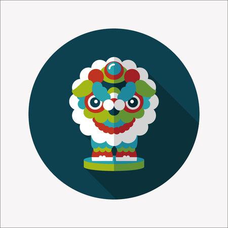 긴 그림자와 함께 중국 새 해 평면 아이콘, 사자 춤 머리