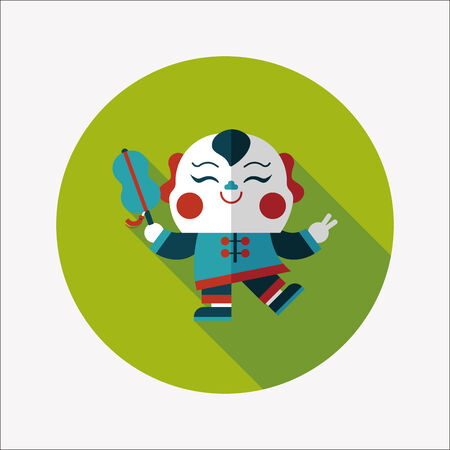 maitreya: Chinese New Year flat icon with long shadow,  Maitreya doll decoration