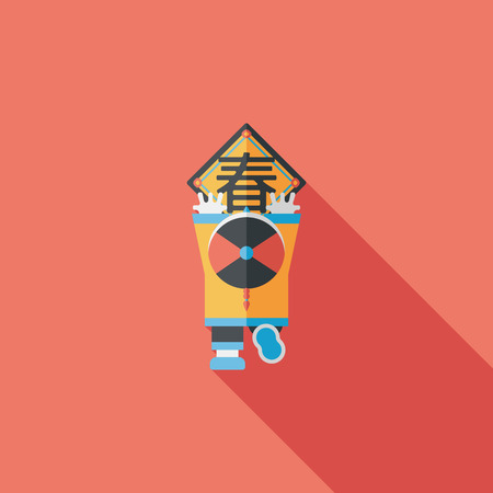 couplets: Chinese New Year flat icon with long shadow,  the little boy to stick couplets  Illustration