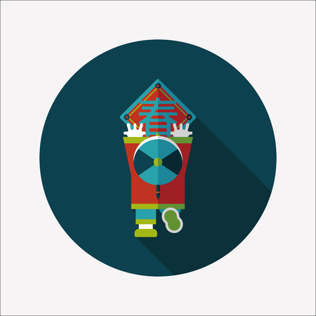 Chinese New Year flat icon with long shadow,  the little boy to stick couplets  Illustration