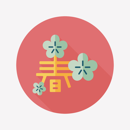 Chinese New Year flat icon with long shadow, word Chun, Chinese festival couplets means wish Spring comes. Vector