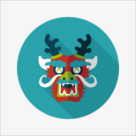 dancing dragon: Chinese New Year flat icon with long shadow,  dragon   Illustration