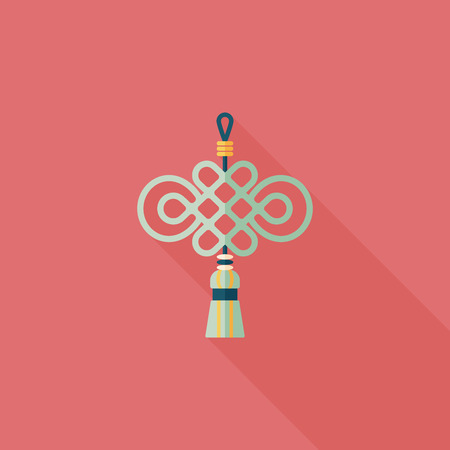 Chinese New Year flat icon with long shadow, lucky Chinese knot