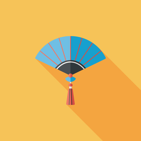 open fan: Chinese New Year flat icon with long shadow, Chinese folding fan   Illustration