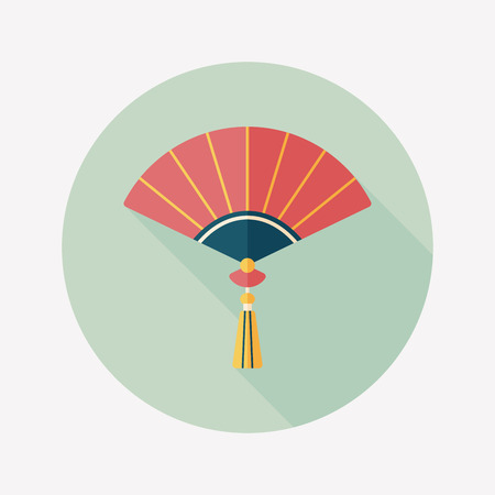 Chinese New Year flat icon with long shadow, Chinese folding fan   Illustration