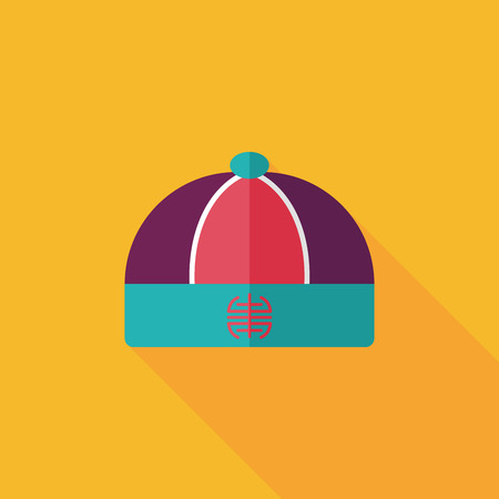 chinese hat: Chinese hat flat icon with long shadow  Illustration