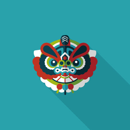 dance shadow: Chinese New Year flat icon with long shadow  Illustration