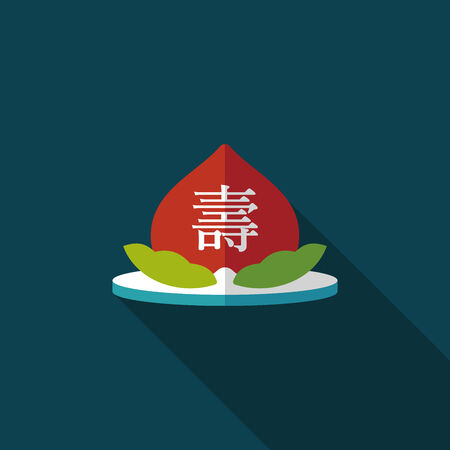 immortality: Chinese New Year peaches of immortality flat icon with long shadow Illustration