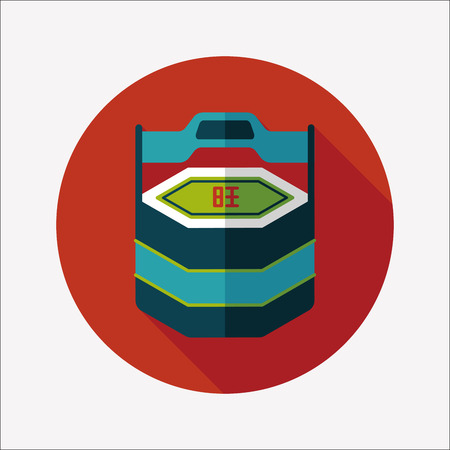 Chinese New Year gift box flat icon with long shadow  Vector