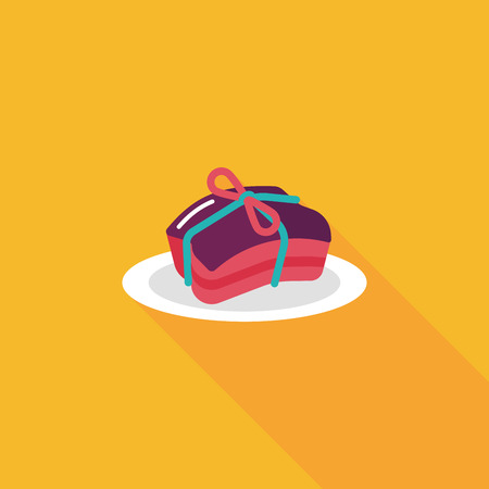 Chinese New Year flat icon with long shadow, Chinese cuisine braised dongpo pork Vector