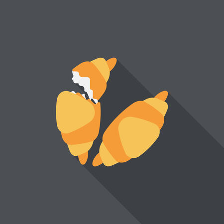 buttery: croissants flat icon with long shadow,eps10 Illustration