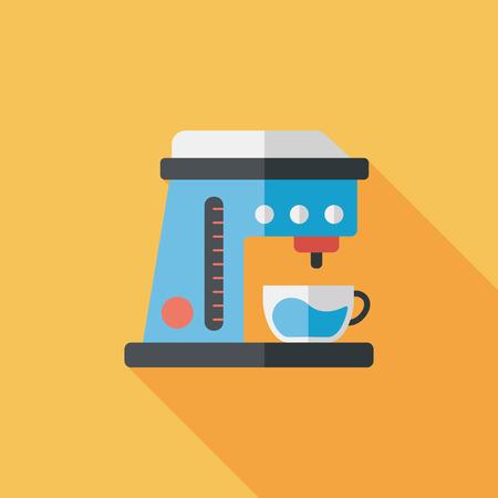 koffiezetapparaat vlakke icoon met lange schaduw, eps10 Stock Illustratie