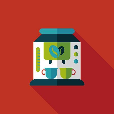 coffee machine flat icon with long shadow,eps10