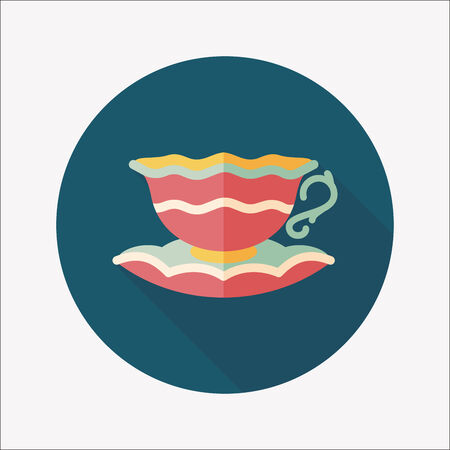 coffee cup flat icon with long shadow,eps10 Illustration