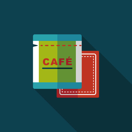 koffiebaal: koffie tas plat icoon met lange schaduw, eps10