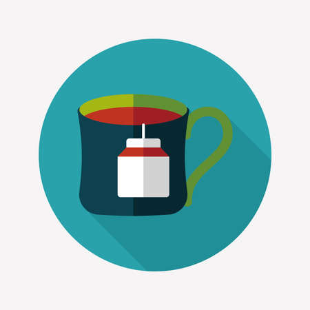 teabag: teabag flat icon with long shadow,eps10 Illustration