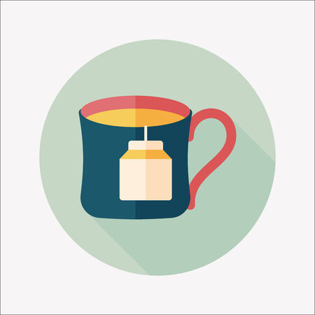 teabag flat icon with long shadow,eps10 Illustration