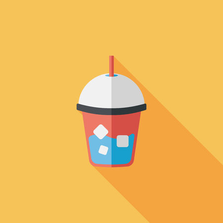 long drink: helado icono plana bebida con larga sombra, eps10 Vectores