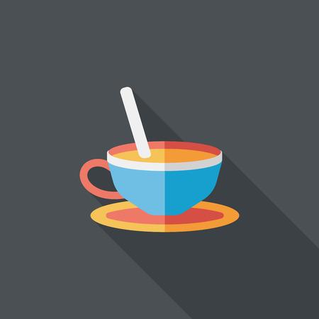 긴 그림자, eps10와 함께 커피 평면 아이콘