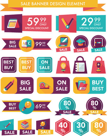 School sale banner design flat background set Vector