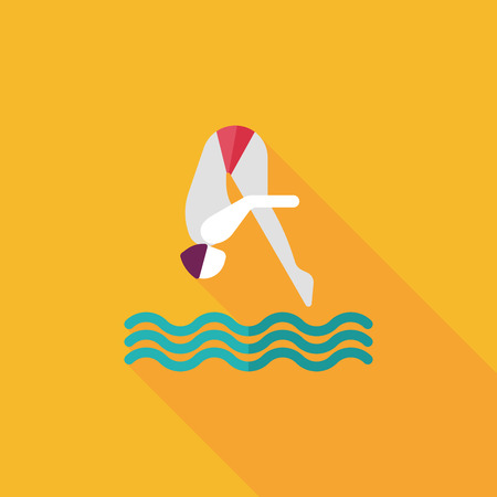 Jump Diving flat icon with long shadow Illustration