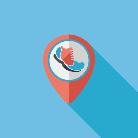 check into place when running flat icon with long shadow Illustration