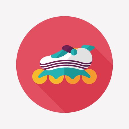 roller skates flat icon with long shadow Illustration