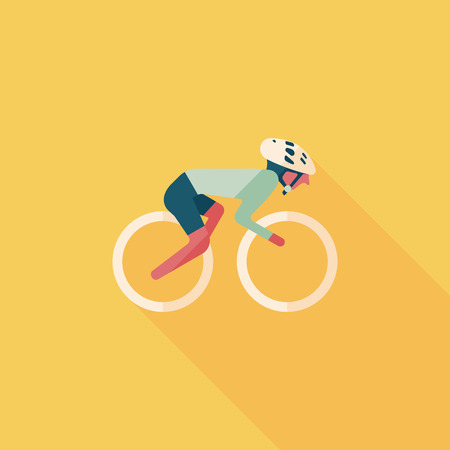 cycling: cycling flat icon with long shadow