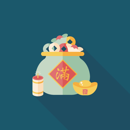gold ingot: Chinese New Year flat icon with long shadow, Gold ingot means  wish good luck and fortune come.