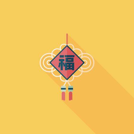 Chinese New Year flat icon with long shadow lucky Chinese knot